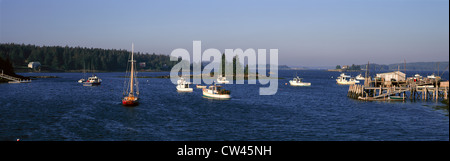 Panoramic harbor view of Lobster Village on Mount Desert Island in Stonington, ME - Stock Photo