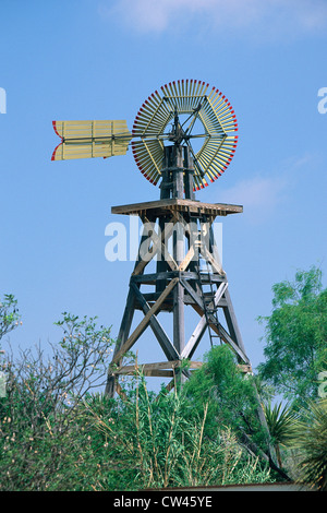 Windmill built in 1904, Langtry, Texas - Stock Photo