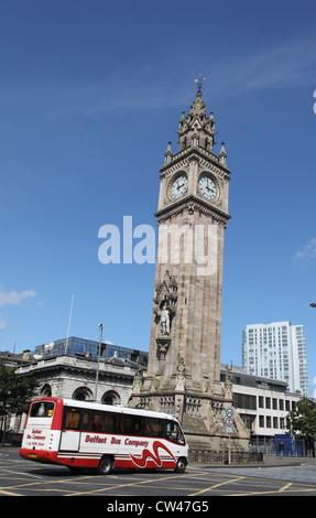 The leaning clock tower, High Street, Belfast, Northern Ireland - Stock Photo