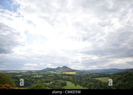 Scott's View in the Scottish Borders, overlooking the valley of the River Tweed. - Stock Photo