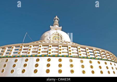 Shanti Stupa, a Buddhist white-domed stupa, or chorton, on a hilltop in Chanspa, Leh, Ladakh, India - Stock Photo