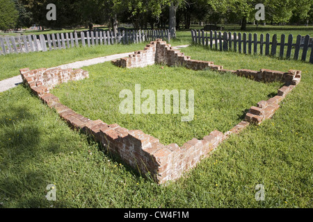 Early house foundations from New Towne site Jamestown Jamestown Island America's Birthplace Virginia built after - Stock Photo