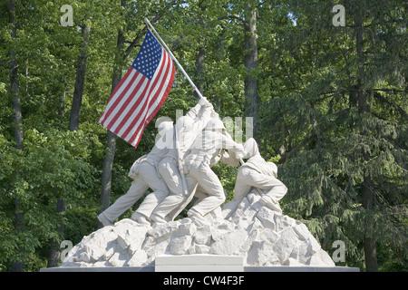 Replica Iwo Jima statue near National Museum Marine Corps entrance to Quantico Marine Corps Base 18900 Jefferson - Stock Photo