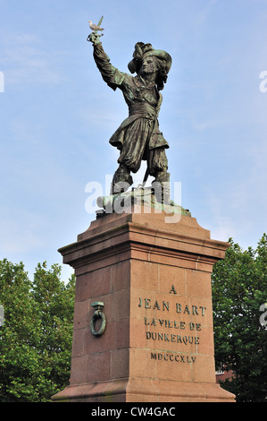 Statue of Jean Bart, naval commander and privateer at Dunkirk / Dunkerque, Nord-Pas-de-Calais, France - Stock Photo