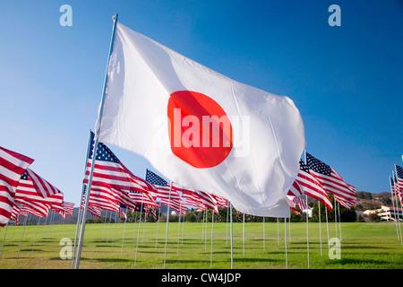Japanese flag among 3000 Flags, September 11, 2009, Malibu CA - Stock Photo