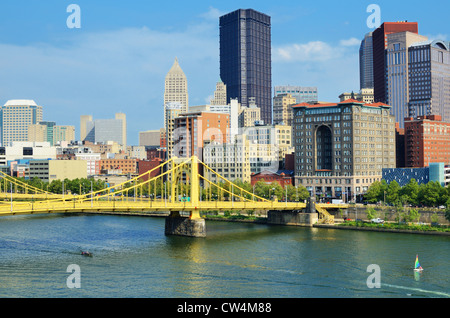 Roberto Clemente Bridge and skyscrapers in downtown Pittsburgh, Pennsylvania, USA. - Stock Photo