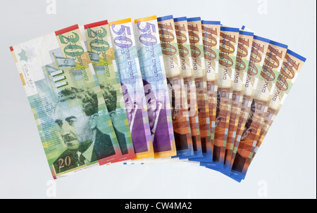 New Shekels - Moshe Sharett the second Prime Minister of Israel (1953–55) is depicted on the new 20 Shekel Bill - Stock Photo