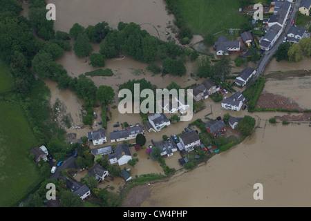 Flooding at the village of Dol-y-Bont, Borth near Aberystwyth, Mid Wales. Stock Photo