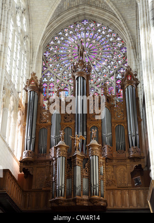 Organ and rose window within St. Gatien cathedral,Tours, France - Stock Photo