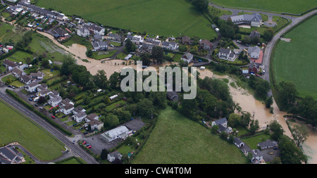 Flooding affecting homes near Aberystwyth, Mid Wales. Stock Photo