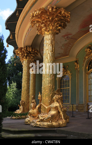 View on one of the three cabinet rooms of the Chinese House, a garden pavilion in the Sanssouci Park in Potsdam, - Stock Photo