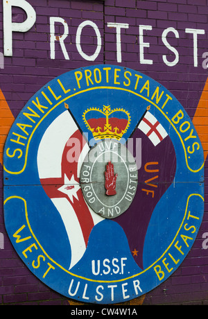 An Ulster Volunteer Force (UVF) emblem (loyalist paramilitary group) on Shankill road, Belfast in Northern Ireland. - Stock Photo