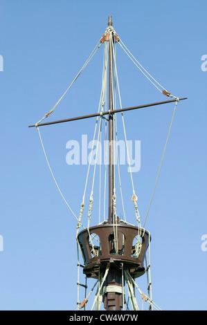 Full size replicas Christopher Columbus' ships Santa Maria Pinta or Niña Muelle de las Carabelas Palos de la Frontera - Stock Photo