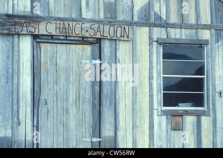 Entrance to Last Chance Saloon in ghost town in CO - Stock Photo