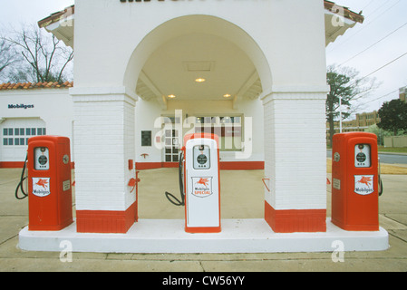 Historical Mobil Oil Gas Station at Little Rock Arkansas Central High School, scene of Civil Rights protests in - Stock Photo