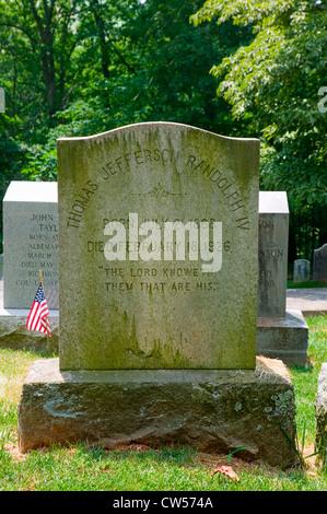 Randolph family tombstone in private Monticello Graveyard,  Charlottesville, Virginia, home of Thomas Jefferson - Stock Photo