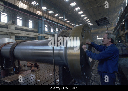 Turbine manufacturing in Kvaerner IMGB factory in Bucharest, Romania - Stock Photo