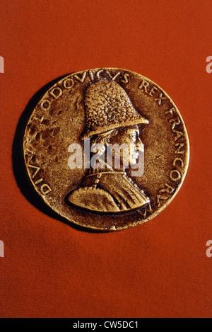 Bronze medal representing Louis XI (1423-1483) by Francesco Laurana - Stock Photo