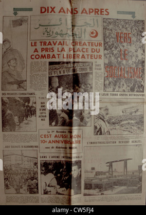 War in Algeria, Front page of the newspaper 'Alger républicain' - Stock Photo