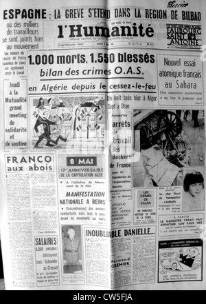 War in Algeria, Front page of the newspaper 'L'Humanité' - Stock Photo