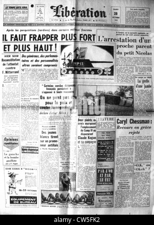 War in Algeria, Front page of the newspaper 'Libération' - Stock Photo