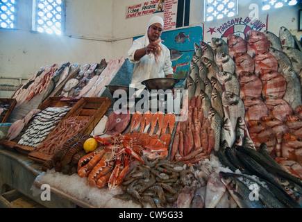 fresh fish for sale at the Marche Central in Casablanca, Morocco - Stock Photo