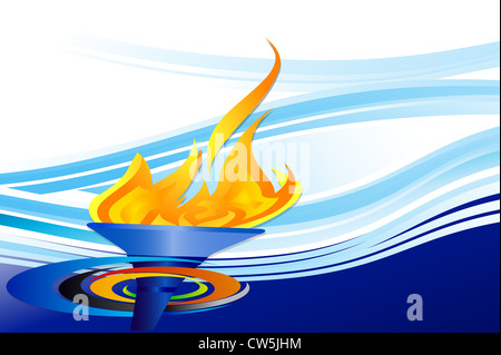 Olympic torch on blue background - Stock Photo