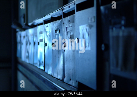 Berlin, entrance with mailboxes - Stock Photo