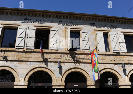 Hotel de Ville in the small town of Prayssac in the Lot Region of South West France Europe - Stock Photo