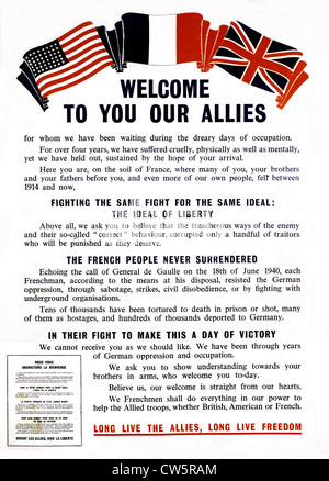 Propaganda poster at the time of the Liberation of France - Stock Photo