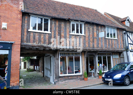 Antique shop in half-timbered building. Petworth. West Sussex. England - Stock Photo