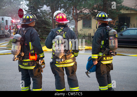 Firefighters respond to an emergency in Boise, Idaho, USA. - Stock Photo