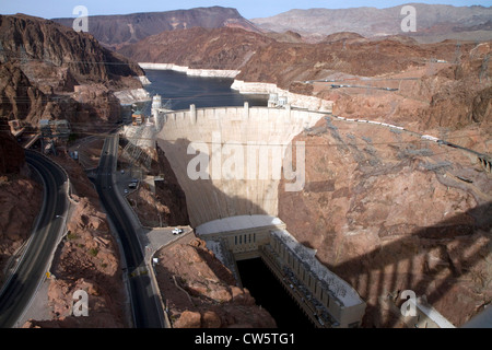 The Hoover Dam located in the Black Canyon of the Colorado River on the border between Arizona and Nevada, USA. - Stock Photo