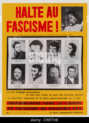 Poster of the French communist party, 1962 - Stock Photo