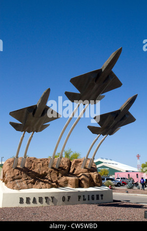 Jet sculpture at the entrance to the Pima Air and Space Museum located in Tucson, Arizona, USA. - Stock Photo