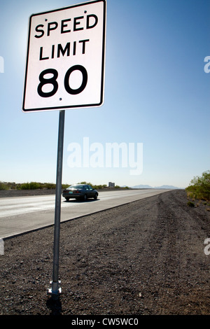 Speed Limit 80 mph road sign along Interstate 10 in west Texas, USA. - Stock Photo