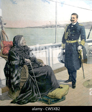 German emperor, Kaiser Wilhelm II, paying a visit to former French Empress Eugénie. of August 11, 1907 - Stock Photo