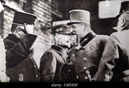 World War I. Tsar Ferdinand I of Bulgaria meeting with Austrian officers in Vienna - Stock Photo