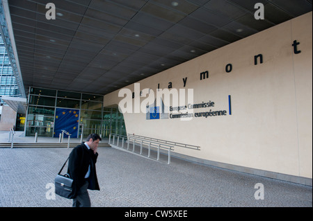 The Berlaymont building, headquarters of European Commission, Brussels, Belgium - Stock Photo