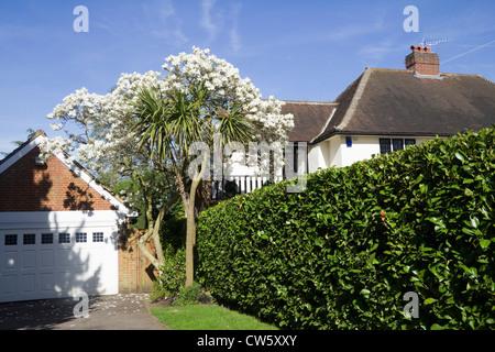 Mock Tudor house in the suburb of Totteridge, London, England - Stock Photo