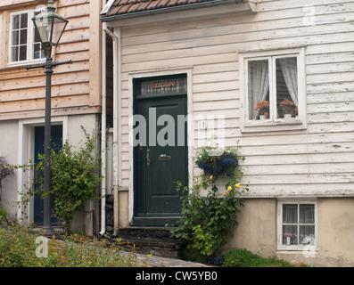 Detail of 2 wooden houses in old Stavanger - Stock Photo
