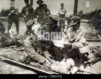 World War I. On the Picardy front, the arrival of wounded German prisoners - Stock Photo
