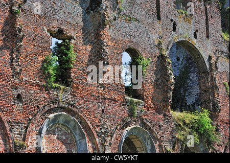 Wall in red bricks among the ruins of the Aulne Abbey, a Cistercian monastery at Thuin, Hainaut, Belgium - Stock Photo