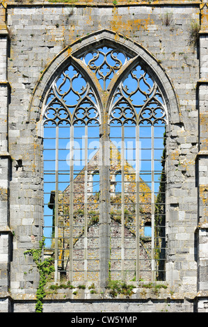 Window with Gothic tracery in the ruins of the Aulne Abbey, a Cistercian monastery at Thuin, Hainaut, Belgium - Stock Photo