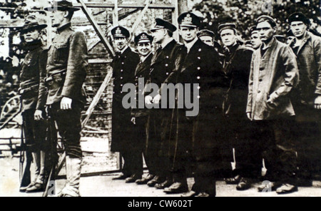 World War I. The crew of a German 'U-58' submarine taken prisoner by the Americans (1918) - Stock Photo