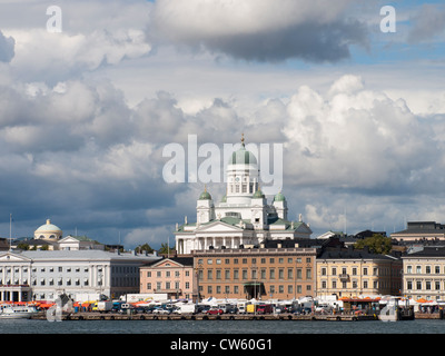 Central market square and cathedral of Helsinki as seen from the sightseeing boat on the harbor - Stock Photo