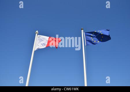 Maltese and EU flags - Stock Photo