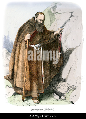 Hieronymites Monk in traditional costume. Hieronymites, or the Order of St. Jerome - Stock Photo