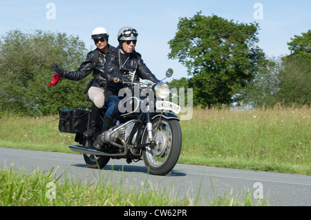 BMW R75/S Gendarmerie motorcycle of 1970 in the Tour de Bretagne near Pordic in the Cotes d'Amor (22) department - Stock Photo