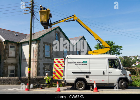 Western Power Distribution workers working on electric power lines. - Stock Photo